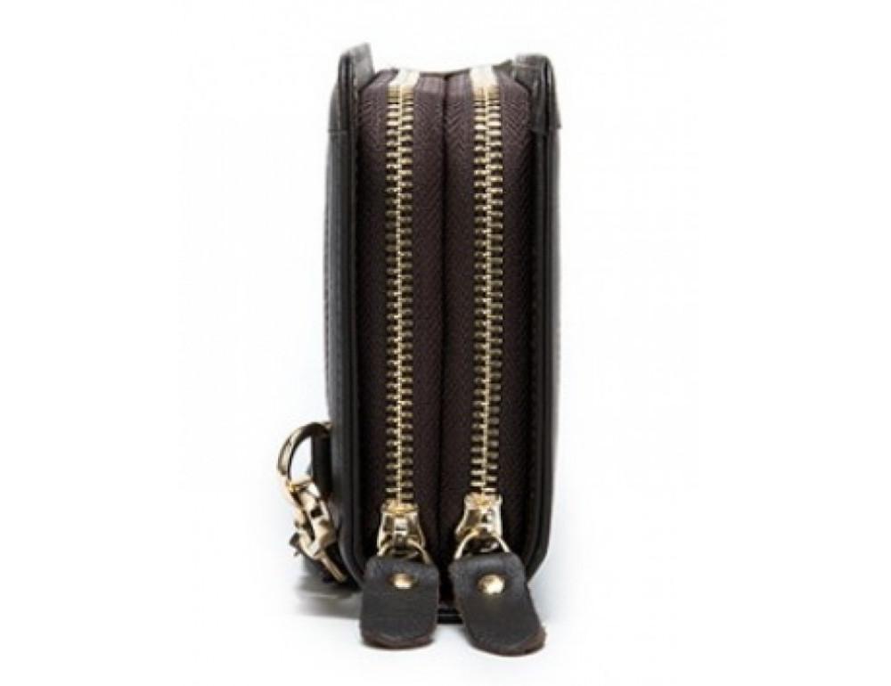Тёмно-коричневый кожаный клатч на два отделения TIDING BAG 8023C - Фото № 4