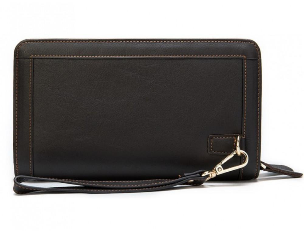 Тёмно-коричневый кожаный клатч на два отделения TIDING BAG 8023C - Фото № 5