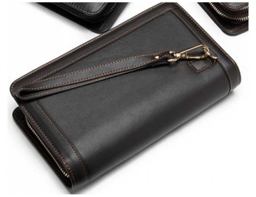 Тёмно-коричневый кожаный клатч на два отделения TIDING BAG 8023C - Фото № 6