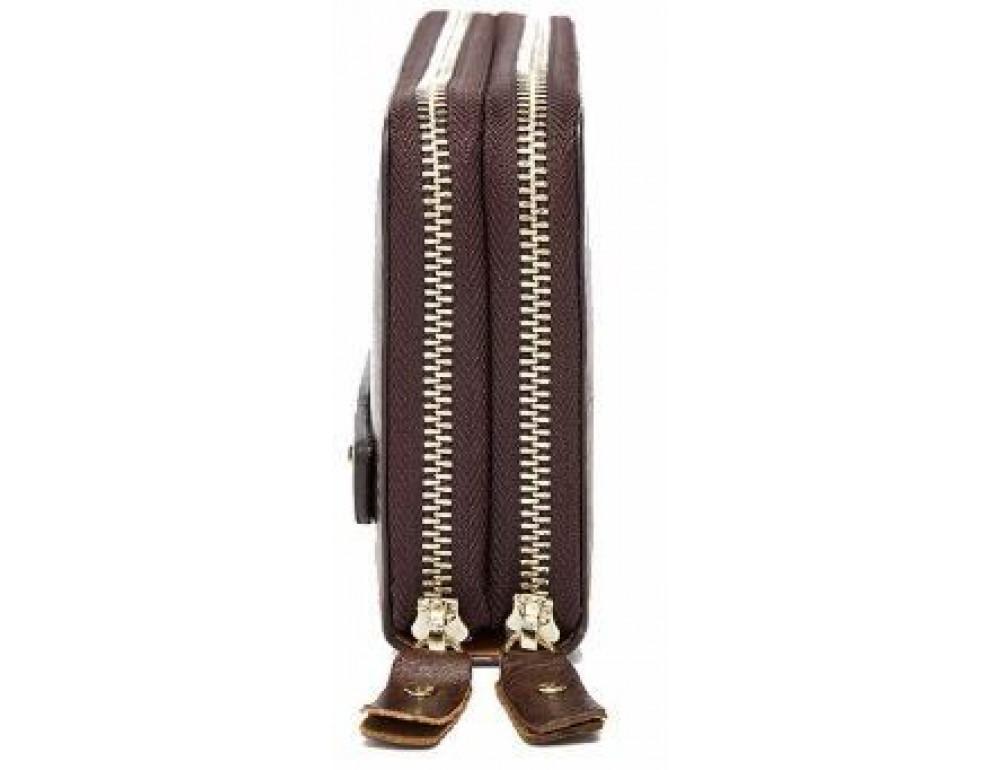 Темно-коричневий шкіряний клатч з двома відділеннями TIDING BAG 8025C - Фотографія № 4