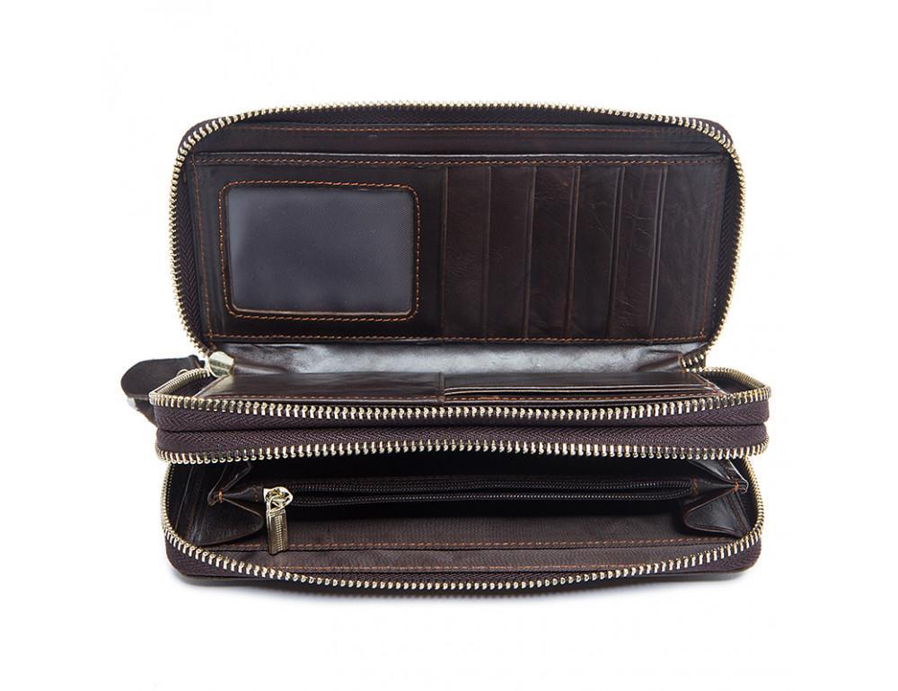 Кожаный клатч TIDING BAG 8026C темно-коричневый - Фото № 2