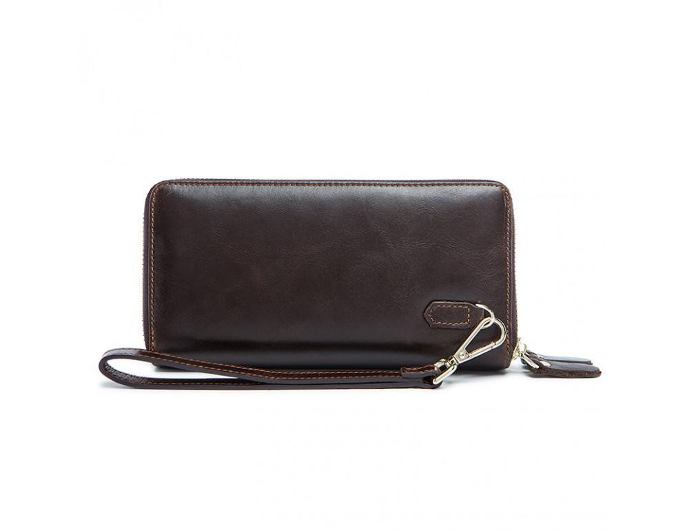 Кожаный клатч TIDING BAG 8026C темно-коричневый - Фото № 3