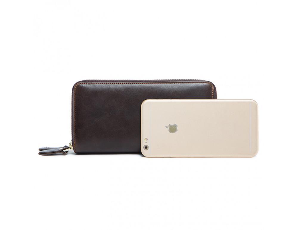 Кожаный клатч TIDING BAG 8026C темно-коричневый - Фото № 4