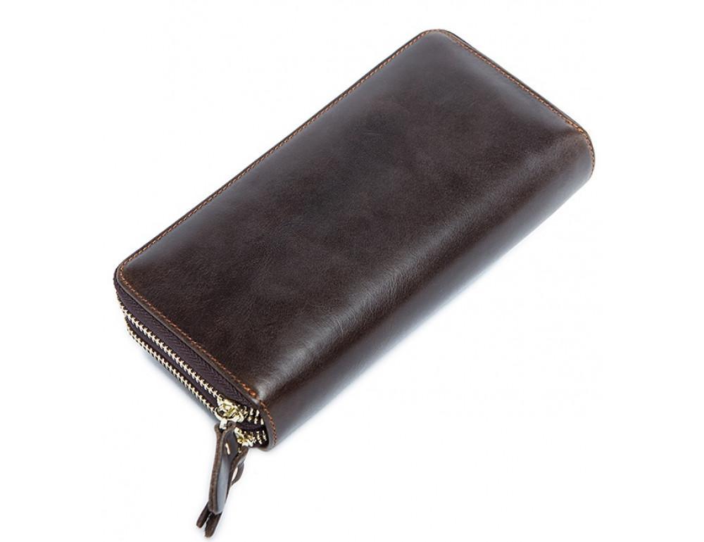 Кожаный клатч TIDING BAG 8026C темно-коричневый - Фото № 6