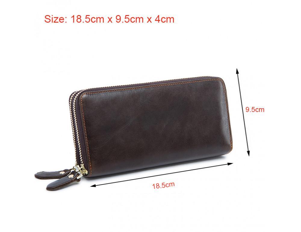 Кожаный клатч TIDING BAG 8026C темно-коричневый - Фото № 9