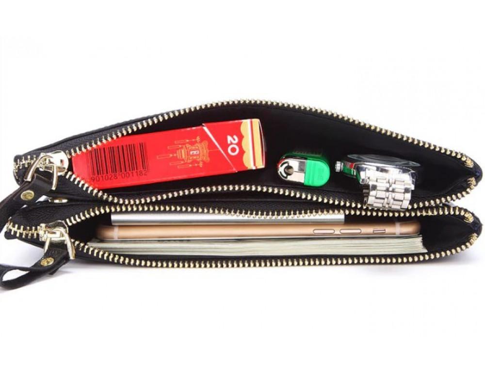 Мужской кожаный клатч TIDING BAG M23-8027A Чёрный - Фото № 4