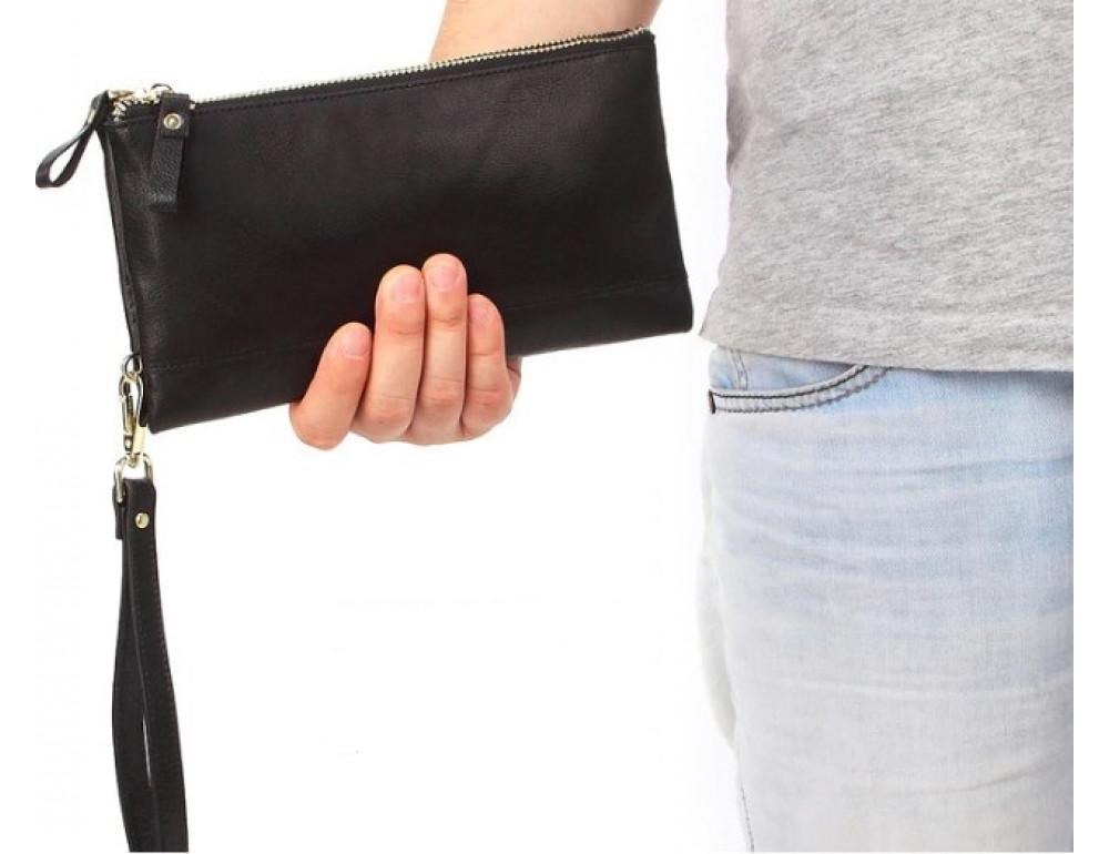Мужской кожаный клатч TIDING BAG M23-8027A Чёрный - Фото № 5