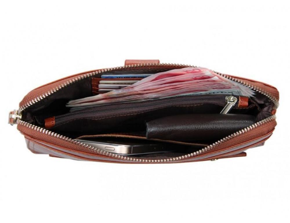 Кожаный мужской клатч Tiding Bag 8037B светло-коричневый - Фото № 2