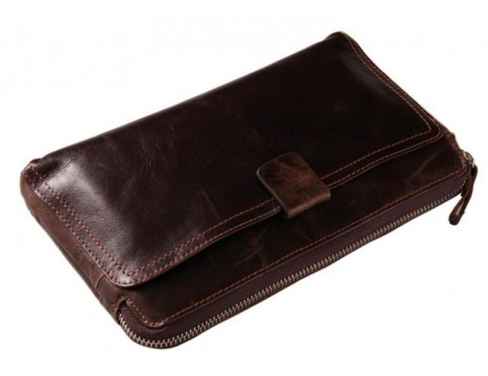 Кожаный мужской клатч Tiding Bag 8037C коричневый