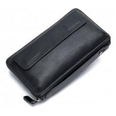 Чёрный кожаный клатч Tiding Bag 8039A