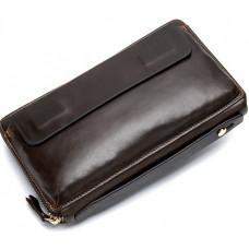 Коричневый кожаный клатч Tiding Bag 8039C