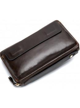 Коричневий шкіряний клатч Tiding Bag 8039C