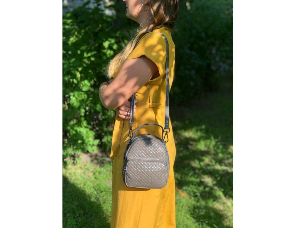 Кожаная сумка - рюкзак Grays 8103G серый - Фото № 3