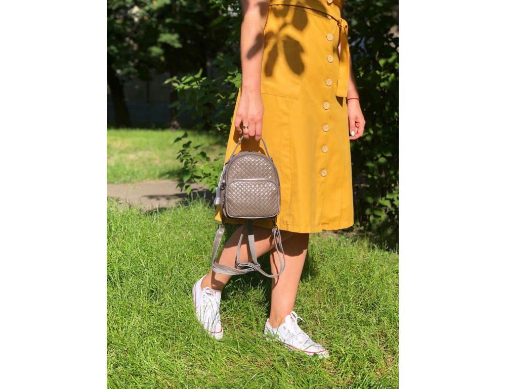 Кожаная сумка - рюкзак Grays 8103G серый - Фото № 1