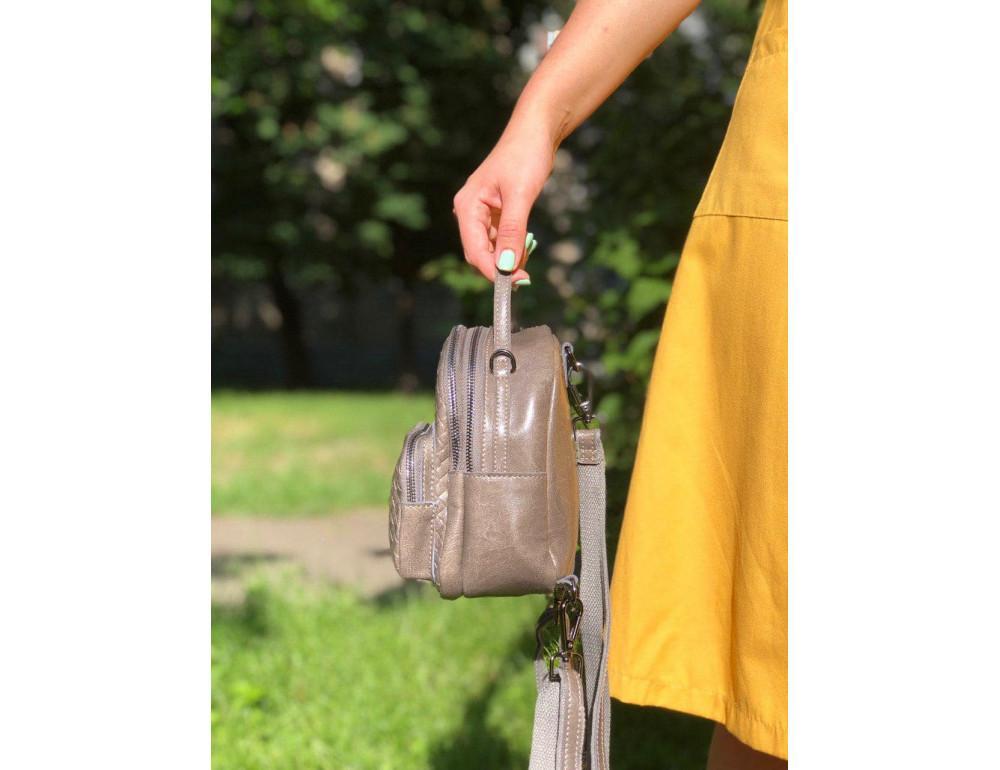 Кожаная сумка - рюкзак Grays 8103G серый - Фото № 2