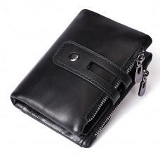 Чёрный кожаный кошелёк Tiding Bag 8109A
