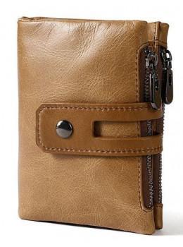 Рыжий кожаный кошелёк Tiding Bag 8109C