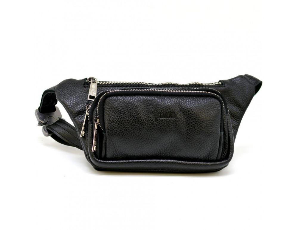 Чёрная напоясная сумка кожаная TARWA FA-8179-3md - Фото № 1