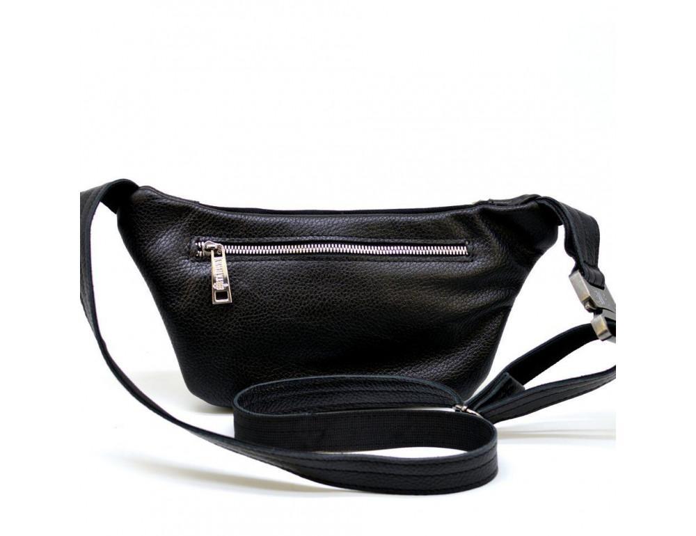 Чёрная напоясная сумка кожаная TARWA FA-8179-3md - Фото № 2
