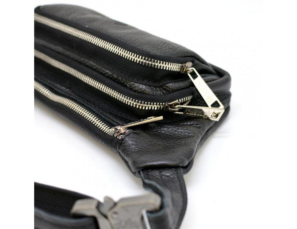 Чёрная напоясная сумка кожаная TARWA FA-8179-3md - Фото № 3