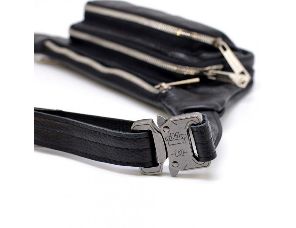 Чёрная напоясная сумка кожаная TARWA FA-8179-3md - Фото № 4