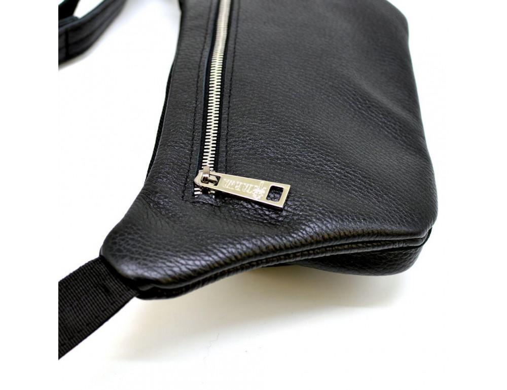 Чёрная напоясная сумка кожаная TARWA FA-8179-3md - Фото № 5