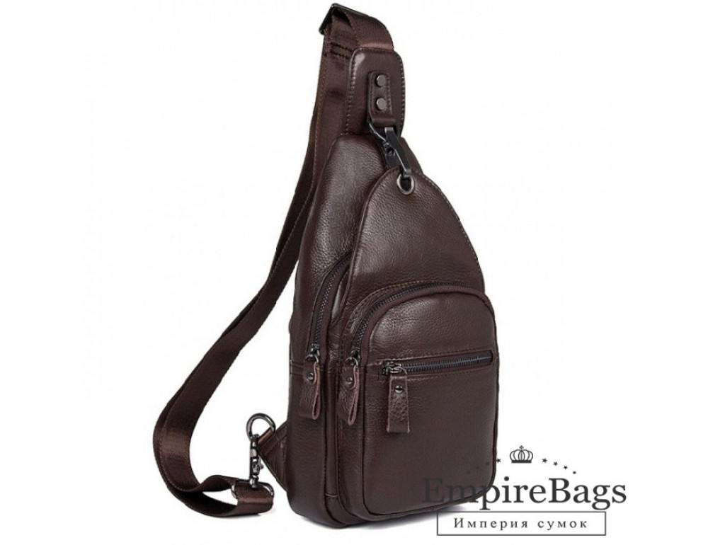 Кожаный рюкзак через одно плечо Tiding Bag 8509C коричневый - Фото № 1