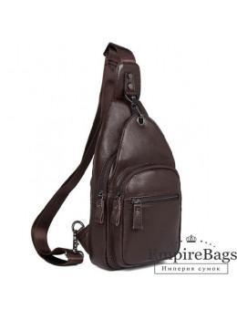 Кожаный рюкзак через одно плечо Tiding Bag 8509C коричневый