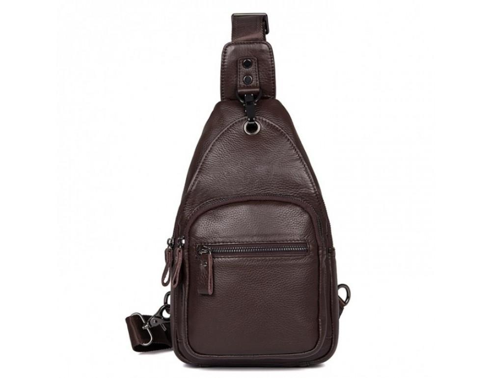 Кожаный рюкзак через одно плечо Tiding Bag 8509C коричневый - Фото № 2