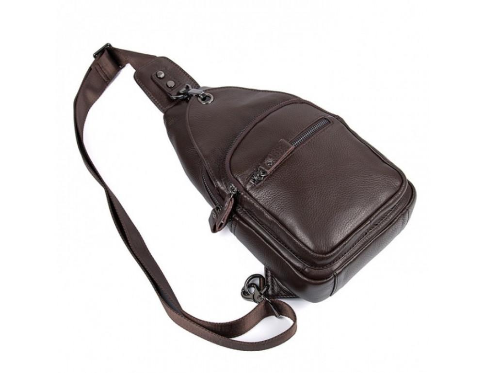 Кожаный рюкзак через одно плечо Tiding Bag 8509C коричневый - Фото № 3