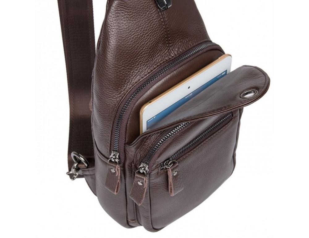 Кожаный рюкзак через одно плечо Tiding Bag 8509C коричневый - Фото № 4
