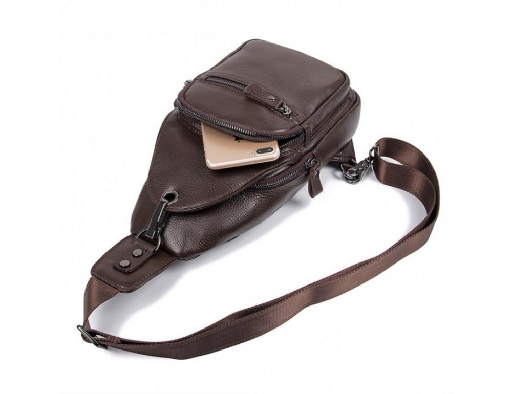 Кожаный рюкзак через одно плечо Tiding Bag 8509C коричневый - Фото № 5