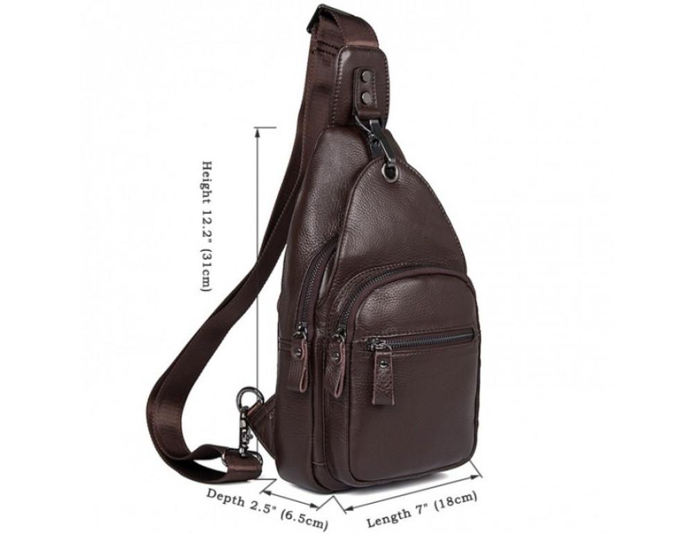 Кожаный рюкзак через одно плечо Tiding Bag 8509C коричневый - Фото № 6