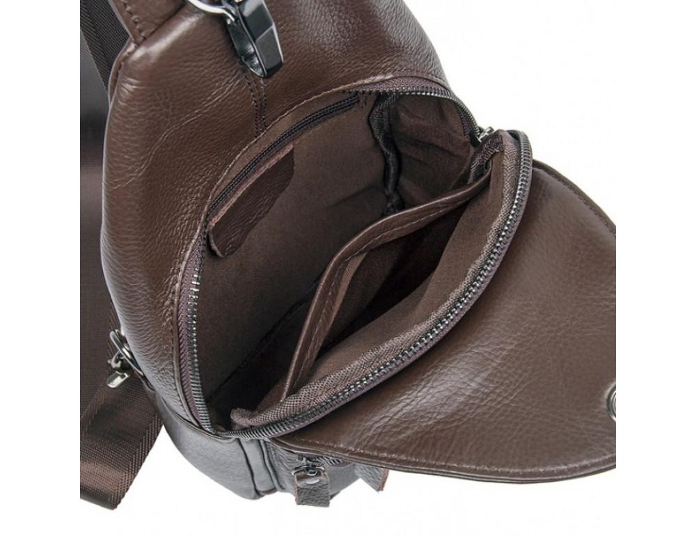 Кожаный рюкзак через одно плечо Tiding Bag 8509C коричневый - Фото № 7