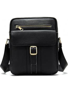 Чёрная мужская кожаная сумка через плечо Tiding Bag 8516A