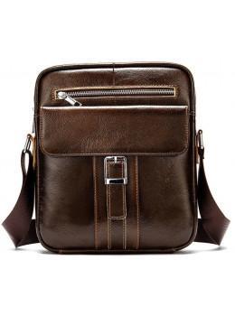 Коричневая кожаная сумка через плечо Tiding Bag 8516C