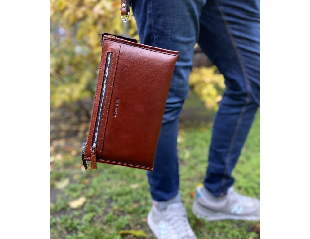 Большой мужской кожаный клатч коричневого цвета Marco Coverna 8519-3-brown - Фото № 2