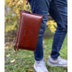 Большой мужской кожаный клатч коричневого цвета Marco Coverna 8519-3-brown - Фото № 101