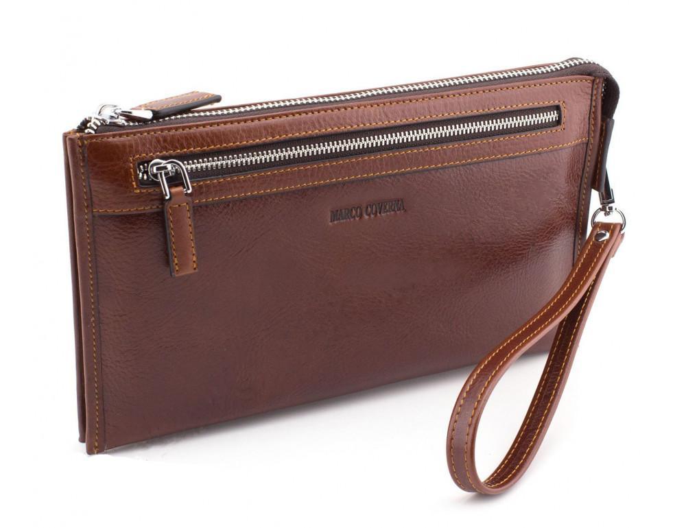 Большой мужской кожаный клатч коричневого цвета Marco Coverna 8519-3-brown - Фото № 1