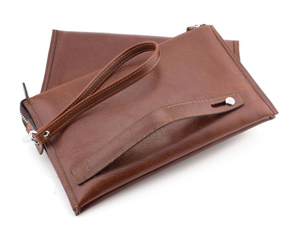 Большой мужской кожаный клатч коричневого цвета Marco Coverna 8519-3-brown - Фото № 3