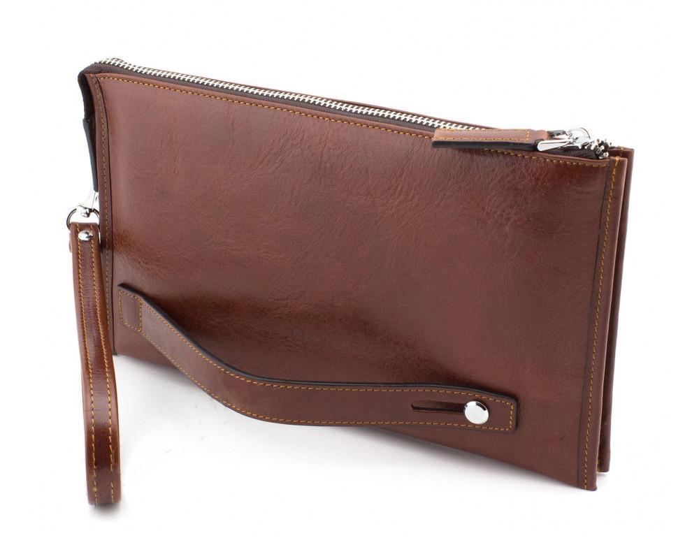 Большой мужской кожаный клатч коричневого цвета Marco Coverna 8519-3-brown - Фото № 4