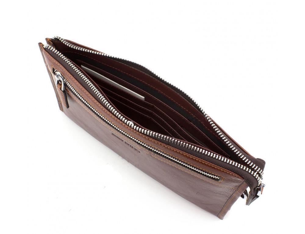 Большой мужской кожаный клатч коричневого цвета Marco Coverna 8519-3-brown - Фото № 5