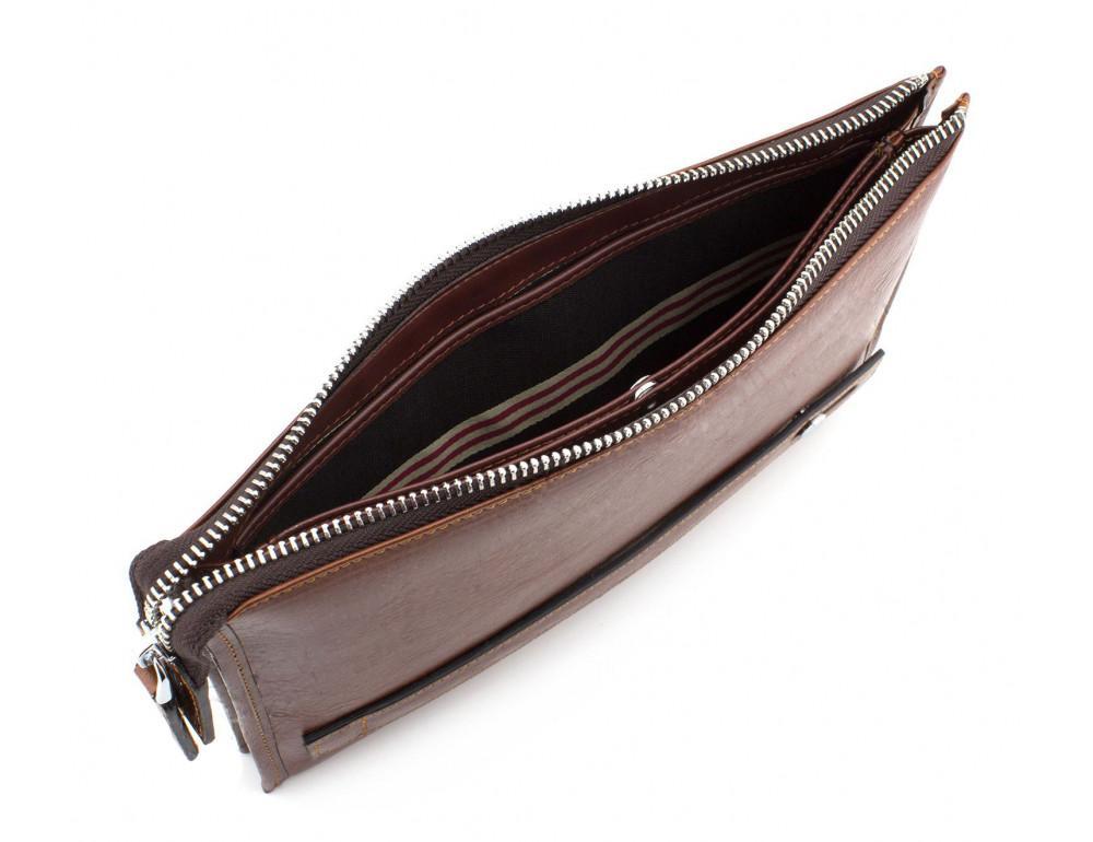 Большой мужской кожаный клатч коричневого цвета Marco Coverna 8519-3-brown - Фото № 6