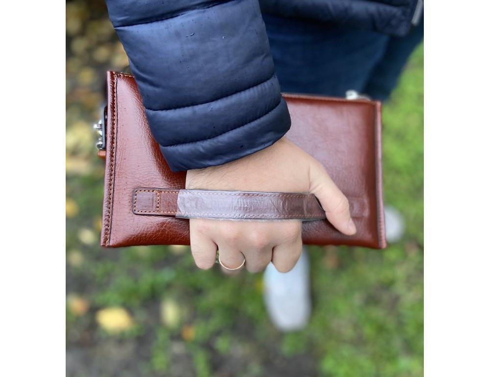 Большой мужской кожаный клатч коричневого цвета Marco Coverna 8519-3-brown - Фото № 8