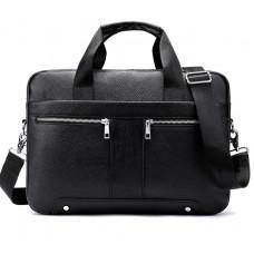 Чёрная кожаная сумка под ноутбук 15,6' Tiding Bag 8522A