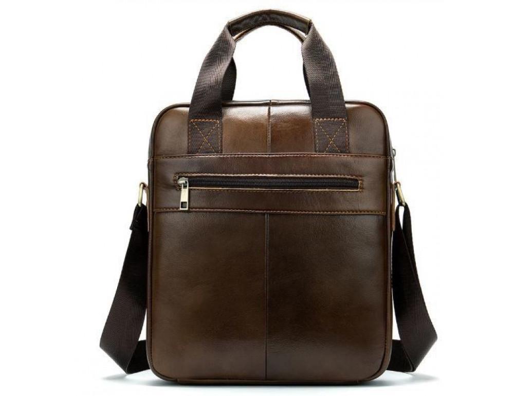 Коричневая вертикальная кожаная сумка Tiding Bag 8578C - Фото № 2