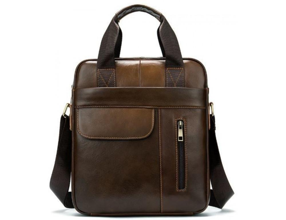 Коричневая вертикальная кожаная сумка Tiding Bag 8578C - Фото № 1