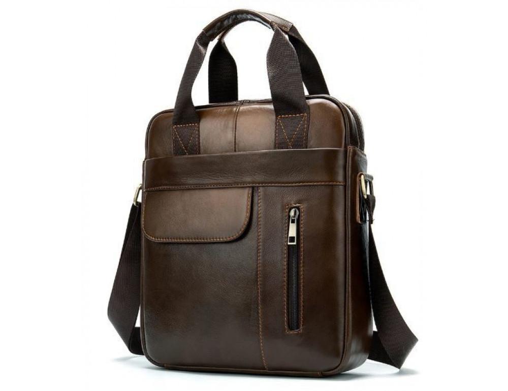 Коричневая вертикальная кожаная сумка Tiding Bag 8578C - Фото № 3