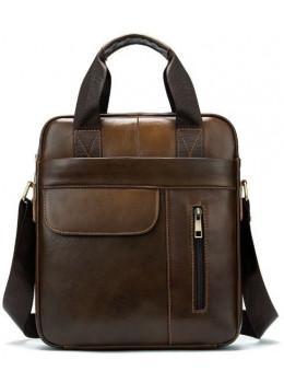 Коричнева вертикальна шкіряна сумка Tiding Bag 8578C