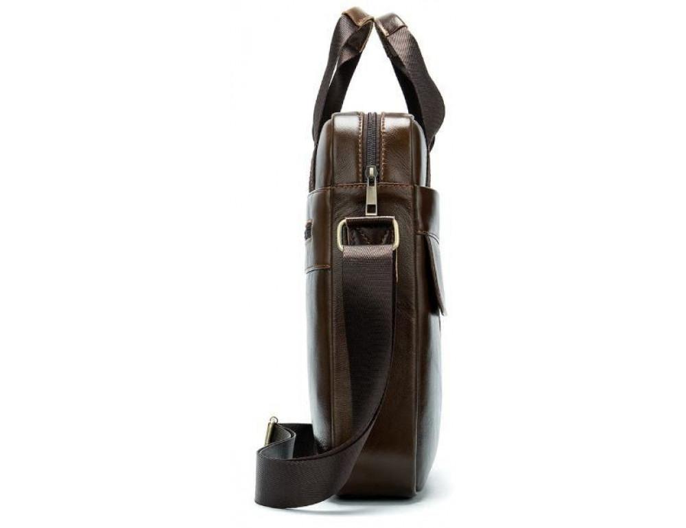 Коричневая вертикальная кожаная сумка Tiding Bag 8578C - Фото № 5